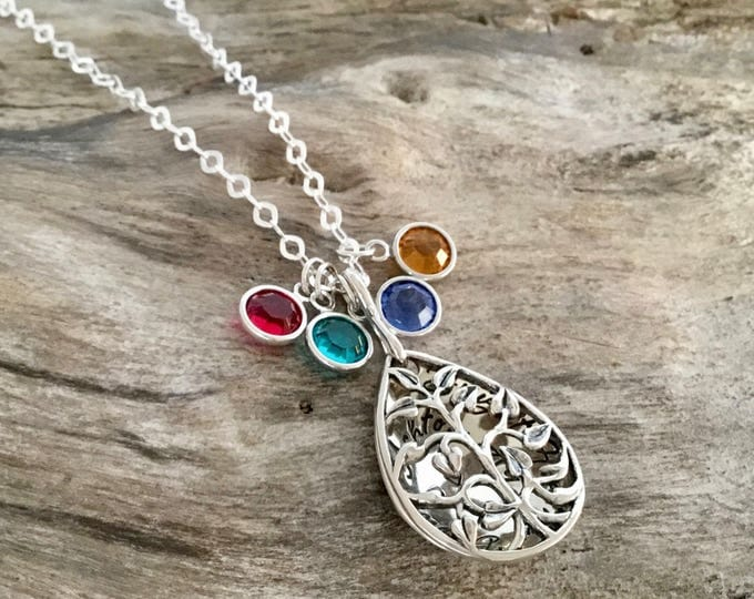 Personalized Family Tree Necklace   Birthstone necklace   Grandmother Necklace   Grandma Jewelry   Family Necklace   Grandma Necklace Gift