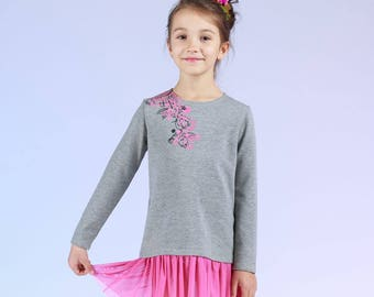 Mousse - children's dress with tulle frill