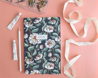 Notebook - Coral Charm Peony // Floral Hand-Illustrated Journal // Botanical Notes Diary // Softcover Book // School Journal, Teacher Gift