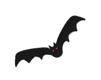 Bat - Black - Vampire - Halloween - Gothic - Embroidered Iron On Patch