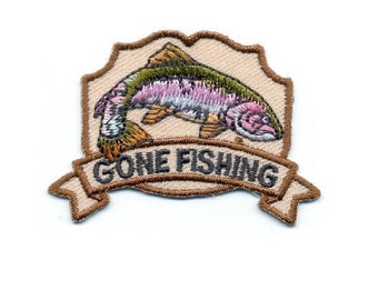 """Fishing - """"Gone Fishing"""" - Embroidered On Twill 2 1/4""""W Iron On Patch - B"""
