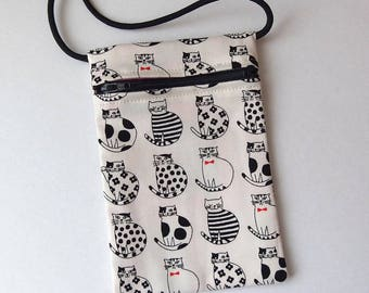 Pouch Zip Bag CATS WHITE Fabric - great for walkers, markets, travel. Cell Phone Pouch. Small fabric Purse. Cross Body bag. black white cats
