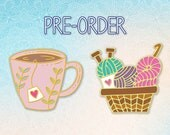 PRE-ORDER Tea Cup and Yarn Basket- Hard Enamel Pin - Crochet - Knit - Tea Time - Craft - Accessory - Lapel Pin - Cloisonne Pin - Brooch