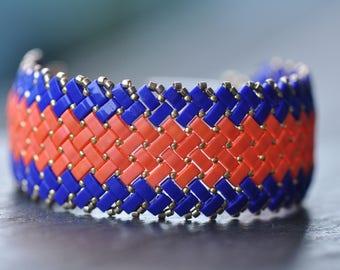 Cobalt Blue, Orange, Herringbone stitch, Half Tila Bracelet, Miyuki beads, Handstitched cuff