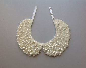 Handmade ivory Peter Pan pearl collar, necklace in vintage style