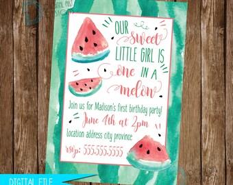 Watermelon Invitation - Watermelon Birthday Invitation - Watermelon Invite - Watermelon Birthday Party - One in a Melon - Printable Invite