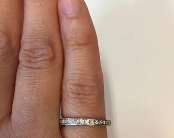 Milgrain 14K White Gold Diamond Ring