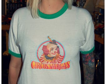 Vintage Circus Vargas Clown ringer shirt screen stars 80s XL
