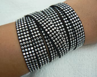 Black & Silver Wrap Around Bracelet