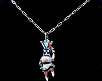 "Sterling Zuni Inlay Dancer Pendant with 18"" Chain - Signed T - Turquoise - Coral - Onyx - Mother Pearl - Native American # 4416"