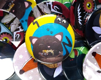 Cats in a Basket Button Badge