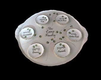 Personalized Hand Painted Seder Plate with Individual  Bowls
