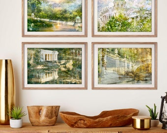 Gallery wall art Set of 4 prints, Summer photography, large artworks set of four prints, St Petersburg architecture, Green Living room 12x18