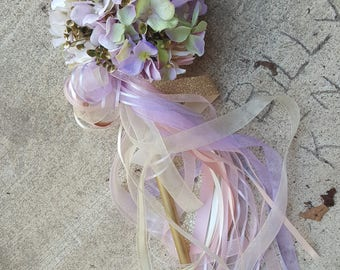 Custom Order for ONE Flower Girl Pom Wand Ivory Lilac Blush Green Champagne