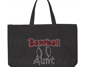 Baseball Aunt Tote Bag. Glitter Rhinestone Baseball Sparkly tote.  Bling gift idea for Aunts.  Large black bag, Zipper top.