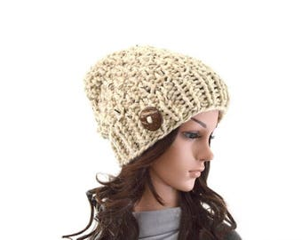 SALE Chunky Knit Slouchy Hat Beanie Toque with One Natural Coconut Shell Button | The Laurel