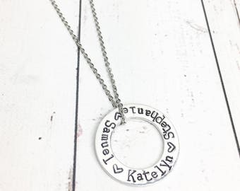 Infinity Neckace with Kids Names - Eternity Ring Necklace - Infinity Jewelry - Washer Necklace - Mothers Necklace -Mom Necklace-Hand Stamped