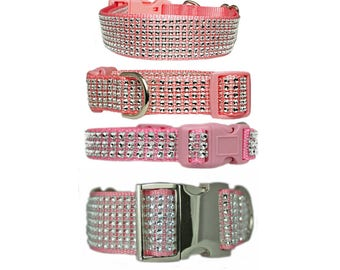 "Rhinestone Dog Collar Silver Bling 5/8"", 3/4"", 1"", 1.5"" Pink Dog Collar"