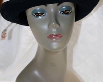 1990s Black Wool Felt Hat  -  Floral Accents - Excellent Condition - Original Tag - Dusty