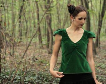 strapless in Emerald Green Velvet leaf