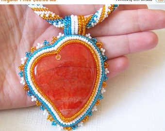15% SALE Bead Embroidery Beadwork Pendant Necklace with Orange Agate - ORANGE HEART - heart necklace - statement necklace