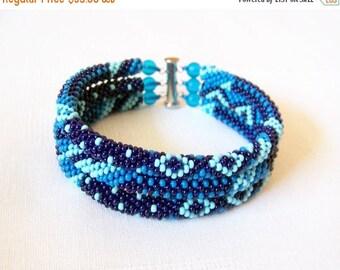 15% SALE Beadwork - 3 Strand Bead Crochet Rope Bracelet in blue, dark blue and sky blue - beaded jewelry - seed beads bracelet