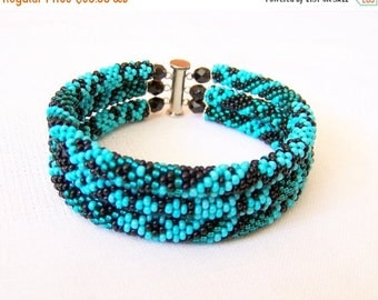 15% SALE Beadwork - 3 Strand Bead Crochet Rope Bracelet in turquoise, teal and emerald - beaded jewelry - beaded bracelet