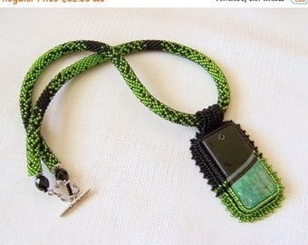 15% SALE Green and Black Agate necklace - Beadwork Bead Embroidery Pendant Necklace - Statement necklace - GREEN REALITY -  Rectangular pend