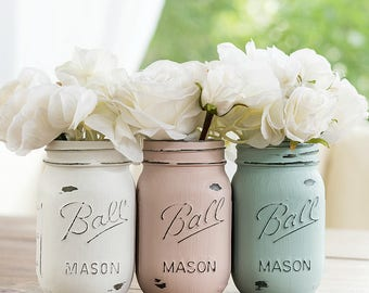 Pink, Blue, White Painted Distressed Mason Jars - Baby Shower, Weddings, Baby Room, Centerpiece, Vase