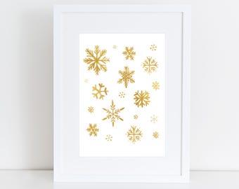 Snowflakes Winter Art Print - Holiday Christmas Decor