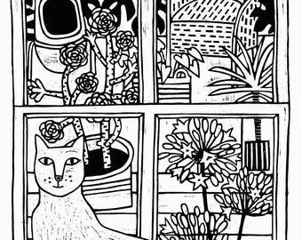 Black and white Cornish garden view, lino print with a  cornish cat