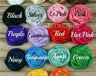 """Satin Rolled Rosette Flowers - 2"""" You Choose Color & Quantity - 2 inch Silk Rose - Wholesale Rosettes DIY Headband and Hair Clips Flower"""