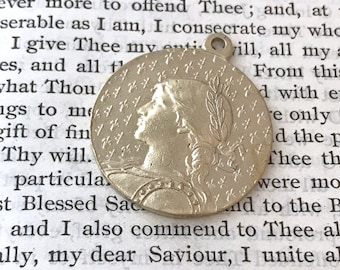 """St. Joan of Arc Religious Medal - 1 1/8"""" - Bronze, Yellow Bronze, or Sterling Silver - Joan of Arc - Catholic Medal - Reproducation (M-1278)"""