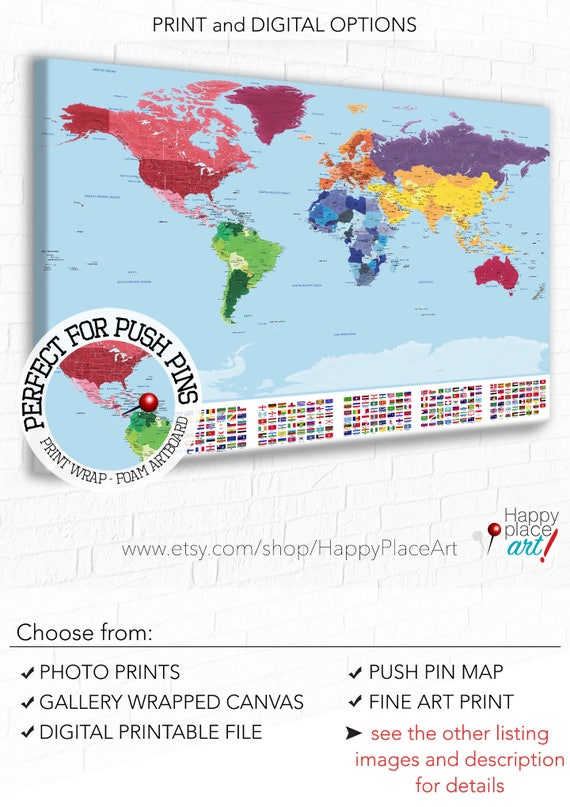 Detailed World map with city labels Map with flags World map
