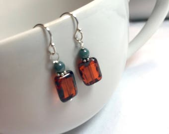 Orange and Turquoise Sterling Silver Drop Earrings
