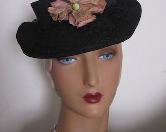 Bethany - 1930's Black Wool Felt Tilt Hat with Velvet Flower Decoration
