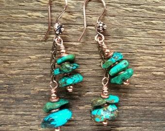 Turquoise Earrings, Dangle Earrings, Chunky Earrings, Turquoise Jewelry, Statement Jewelry, Cowgirl Jewelry, Southwestern Jewelry