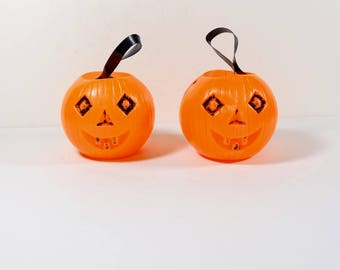vintage halloween jack o lanterns plastic pumpkin containers small trick or treat - Plastic Pumpkins