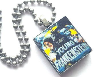 Young Frankenstein Scrabble Tile Necklace with Stainless Steel Ball Chain