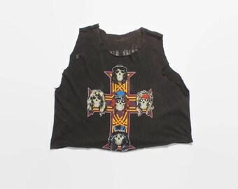 Vintage 80s GUNS N ROSES Tank / 1980s GNR Appetite for Destruction Cut Off Cropped T-Shirt