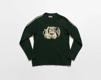 Vintage 70s CHEERLEADER Sweater / 1970s Green Wool BULLDOGS Debbie Varsity Pullover