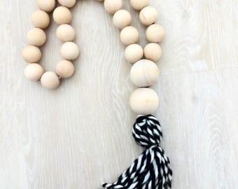 Wood bead tassel
