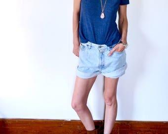 Vintage 90s Denim Shorts by CK/ 1990s Jean Shorts/ Paper bag Shorts/ Calvin Klein/CK Jeans
