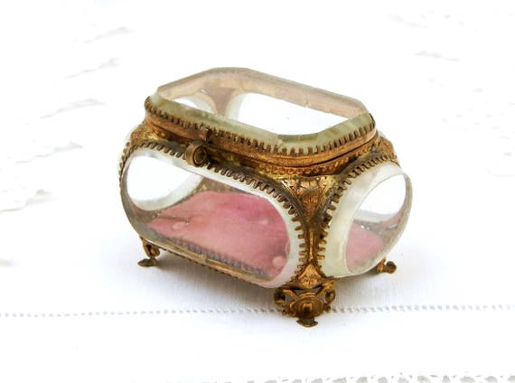 Small Antique French Beveled Glass Jewelry Box with Gilt Metal and Padded Velvet Lining, Napoleon III / 3  Thick Glass Trinket Box