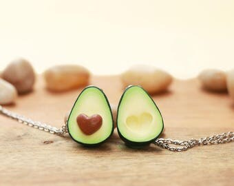 Avocado Friendship Necklace - 1 pair -w / wo initials - food jewelry - avocado necklace, mother's day, Friendship jewelry, personalized gift