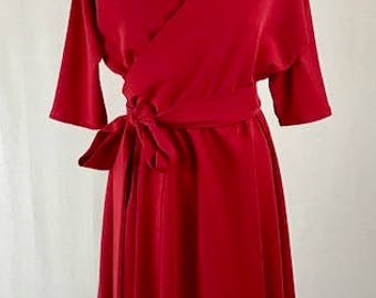 Baylis & Knight Red Wrap 3/4 Sleeve Bat Wing Dress With Flared Skirt