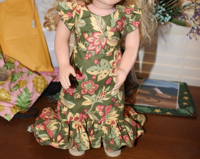 Ready for a Party, Orange and Green Flower Dress , Matching Shoes made for the AG and other 18 inch dolls FREE SHIPPING