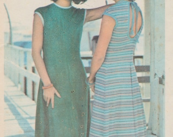 Vintage ladies sewing pattern - 1970s Butterick - simple and easy - Pull over long stretch knit dress - size 14