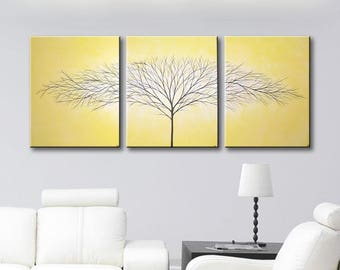 Yellow Canvas Art Painting Bedroom Wall Decor 3 Piece Wall Art ORIGINAL Big  Painting Wall Hangings