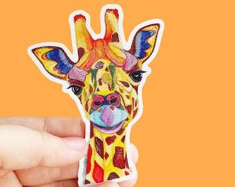 Vinyl Giraffe Sticker - Animal Sticker, Waterproof Sticker, Giraffe Decal, Laptop Sticker, Bumper Sticker, Phone Sticker, Ipad Sticker